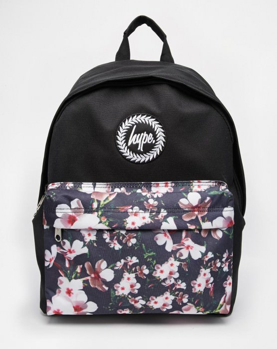 Backpack with Floral Front Pocket