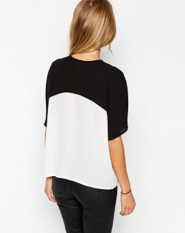 Mono Color Block Cropped V Neck Kimono Blouse