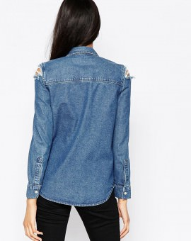 Denim Midwash Shirt With Rips