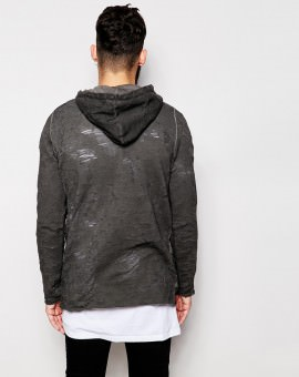 Longline Hoodie With Oil Wash & Distressed Effect