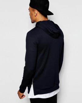 Longline Hoodie In Crepe With Side Zips