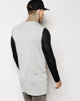 Long Sleeve T-Shirt With Contrast Sleeve In Slub Fabric