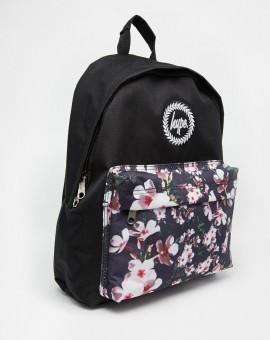Backpack with Floral Front Pocket