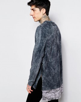 Super Longline Long Sleeve T-Shirt With Acid Wash Printed Hem And Zips