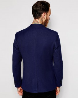 Slim Fit Blazer In Pique Jersey
