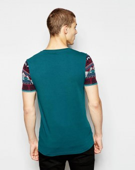 T-Shirt With Geo-Tribal Pocket And Sleeves In Stretch