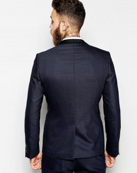 Suit Jacket With Contrast Satin Lapel In Skinny Fit