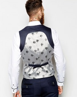 Vest With Lapel In Skinny Fit