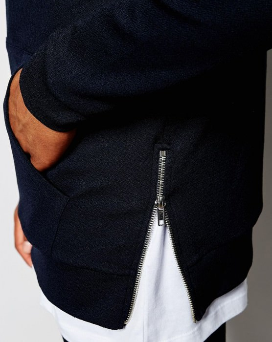 Longline Hoodie In Crepe With Side Zips