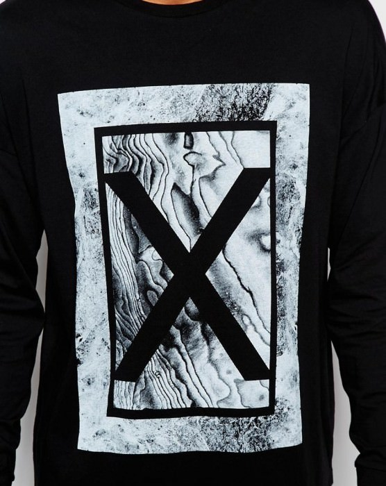 Long Sleeve T-Shirt With Marble Print