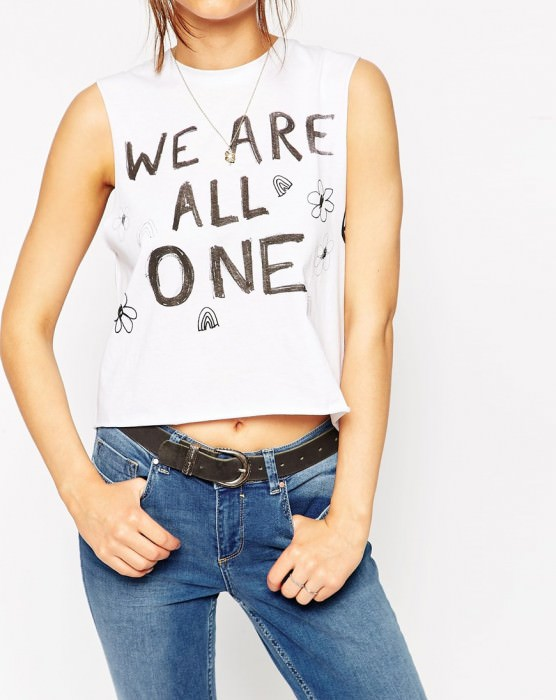 Cropped Tank with We Are One Print