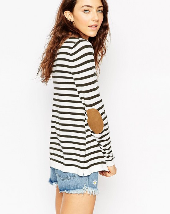 Sweater In Stripe With Tan Suedette Elbow Patch